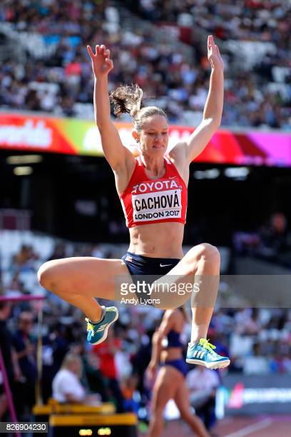 Katerina Cachova of the Czech Republic competes in the Women's Heptathlon Long Jump during day three of the 16th IAAF World Athletics Championships...