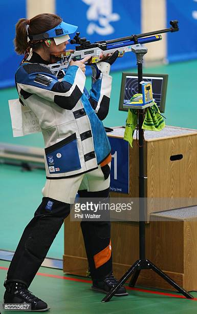 Katerina Emmons of Czech Republic competes on her way to winning the gold medal in the Women's 10m Air Rifle Final held at the Beijing Shooting Range...