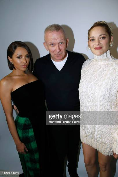 Katerina Graham Stylist JeanPaul Gaultier and Marion Cotillard pose after the JeanPaul Gaultier Haute Couture Spring Summer 2018 show as part of...