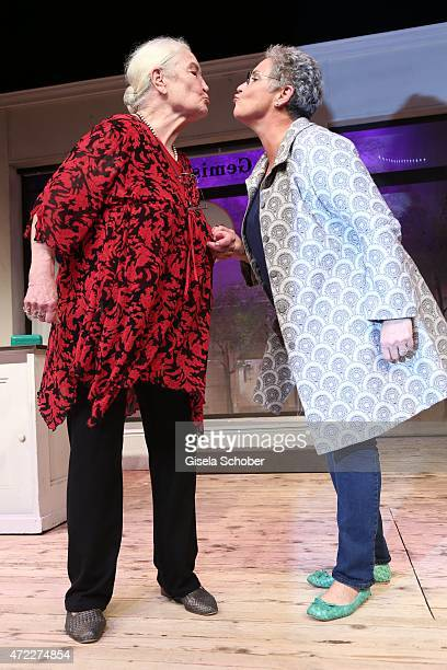 Katerina Jacob and her mother Ellen Schwiers during the premiere of the play 'Altweiberfruehling' at Komoedie im Bayerischen Hof on May 5 2015 in...