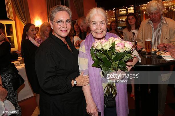 Katerina Jacob with her mother Ellen Schwiers during the premiere of the play 'Altweiberfruehling' at Komoedie im Bayerischen Hof on May 5 2015 in...