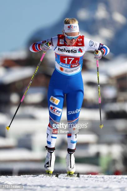 Katerina Janatova of Czech Republic competes in the second semifinal run for the Ladies' Cross Country Team Sprint during FIS Nordic World Ski...
