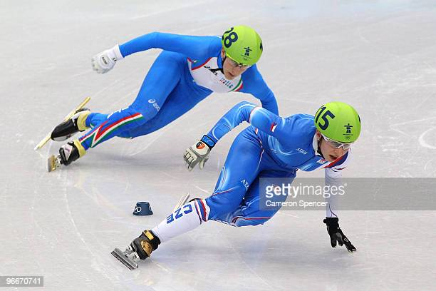 Katerina Novotna of Czech Republic competes against Cecilia Maffei of Italy in the Ladies' 500 m Short Track on day 2 of the Vancouver 2010 Winter...
