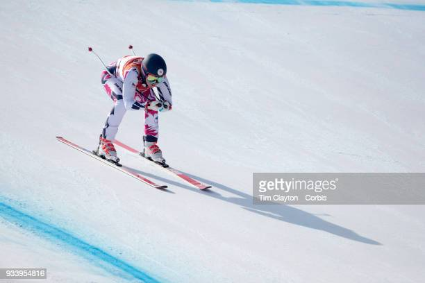 Katerina Paulathova of the Czech Republic in action during the Alpine Skiing Ladies' Alpine Combined Downhill at Jeongseon Alpine Centre on February...