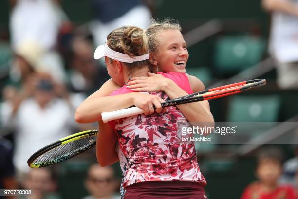 Katerina Siniakova and Barbora Krejcikova of Czech Republic celebrate after winning their Women's Doubles Final match against Eri Hozumi and Makoto...