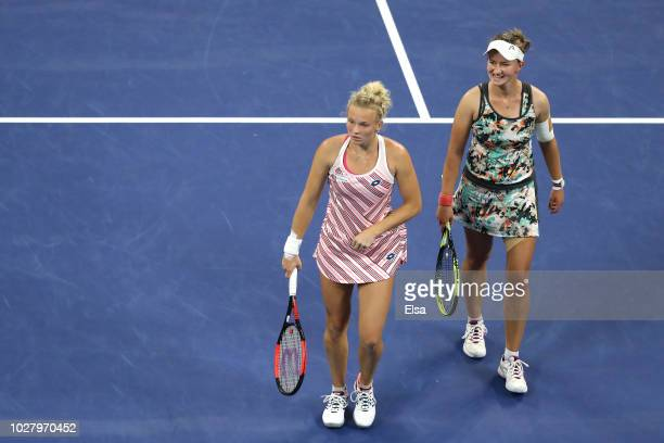 Katerina Siniakova and Barbora Krejcikova of the Czech Republic in action during their women's doubles semifinal match against Ashleigh Barty of...