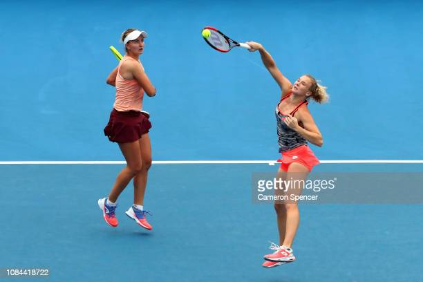 Katerina Siniakova and Barbora Krejcikova of the Czech Republic during their second round doubles match against Monique Adamczak and Jessica Moore of...
