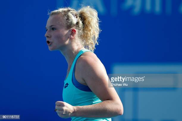 Katerina Siniakova of Czech Republic celebrates during her second round match against Wang Yafan of China during Day 4 of 2018 WTA Shenzhen Open at...