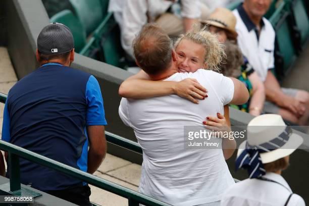 Katerina Siniakova of Czech Republic celebrates her victory against Nicole Melichar of The United States and Kveta Peschke of Czech Republic after...