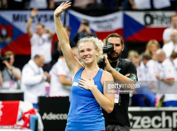 Katerina Siniakova of Czech Republic celebrates victory over Sofia Kenin of USA after the Fed Cup Final between Czech Republic and USA at O2 Arena on...