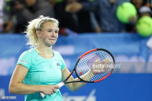 Katerina Siniakova of Czech Republic celebrates winning the semi final match against Maria Sharapova of Russia during Day 6 of 2018 WTA Shenzhen Open...