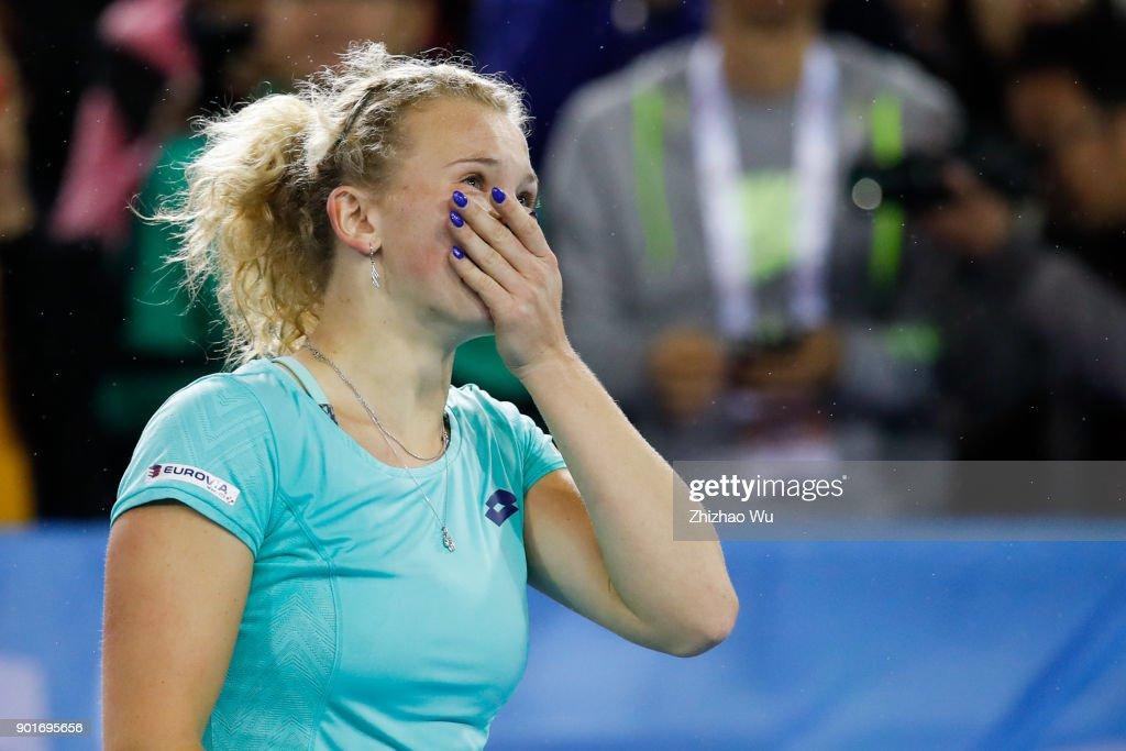 Katerina Siniakova of Czech Republic celebrates winning the semi final match against Maria Sharapova of Russia during Day 6 of 2018 WTA Shenzhen Open at Longgang International Tennis Center on January 5, 2018 in Shenzhen, China.