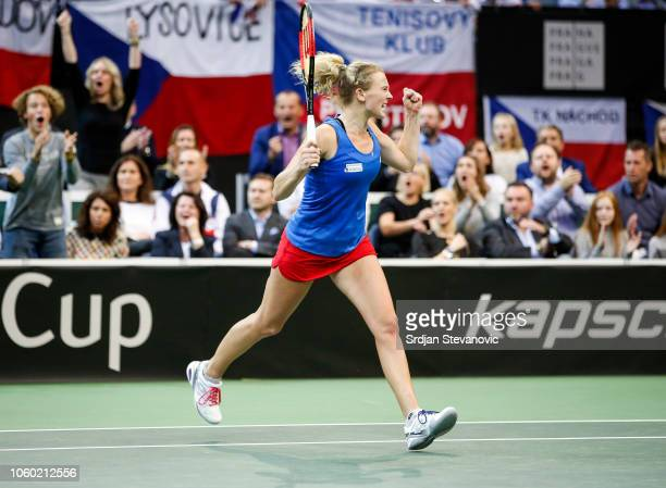 Katerina Siniakova of Czech Republic during her match against Sofia Kenin of USA during the Fed Cup Final between Czech Republic and USA at O2 Arena...