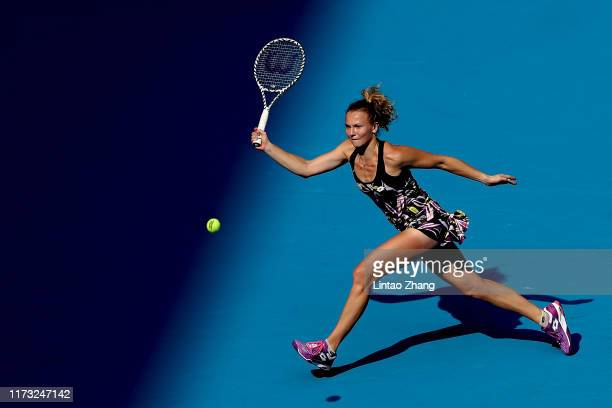 Katerina Siniakova of Czech Republic in action against Caroline Wozniacki of Denmark during the Women's singles third round of 2019 China Open at the...