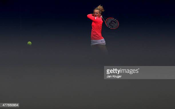 Katerina Siniakova of Czech Republic in action against Christina McHale of USA on day four of the Aegon Classic at Edgbaston Priory Club on June 18...