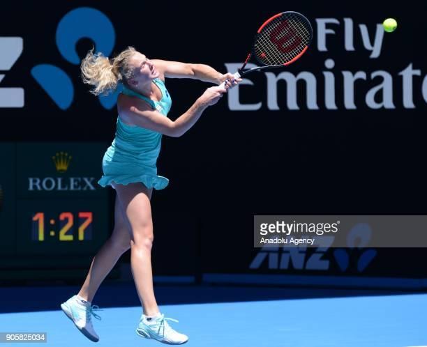 Katerina Siniakova of Czech Republic in action against Elina Svitolina of Ukraine during Women's single match of 2018 Australian Open at Melbourne...