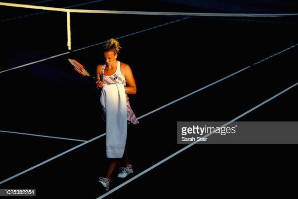 Katerina Siniakova of Czech Republic looks on during her women's singles second round match against Ajla Tomljanovic of Australia on Day Four of the...