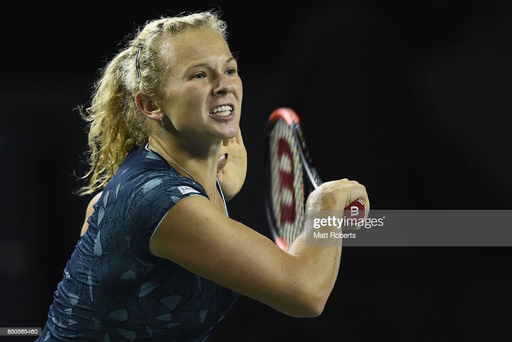 Katerina Siniakova of Czech Republic plays a backhand against Dominika Cibulova of Slovakia during day four of the Toray Pan Pacific Open Tennis At Ariake Coliseum on September 21, 2017 in Tokyo, Japan.