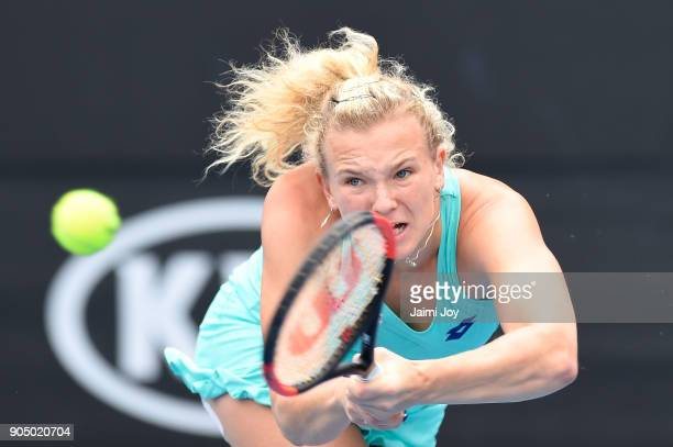 Katerina Siniakova of Czech Republic plays a backhand in her first round match against Maria Sakkari of Greece on day one of the 2018 Australian Open...