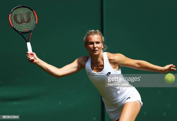 Katerina Siniakova of Czech Republic plays a forehand in her Ladies' Singles third round match against Camila Giorgi of Italy on day five of the...