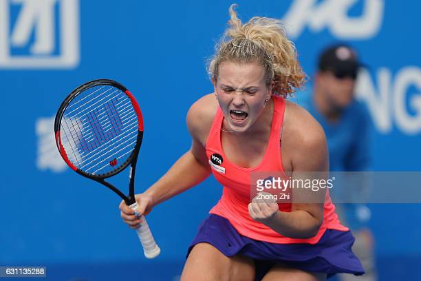 Katerina Siniakova of Czech Republic reacts after winning the singles final match against Alison Riske of United States during Day 7 of 2017 WTA...