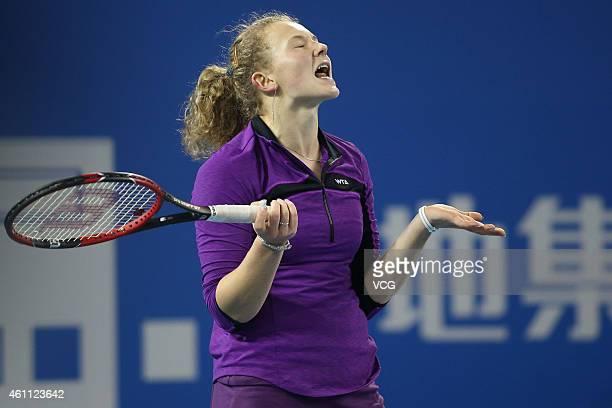 Katerina Siniakova of Czech Republic reacts against Tereza Smitkova of Czech Republic during day four of the WTA Shenzhen Open at Shenzhen Longgang...