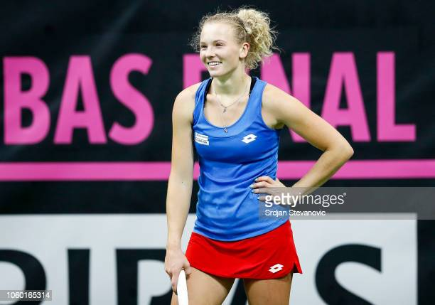 Katerina Siniakova of Czech Republic reacts during her match against Sofia Kenin of USA during the Fed Cup Final between Czech Republic and USA at O2...