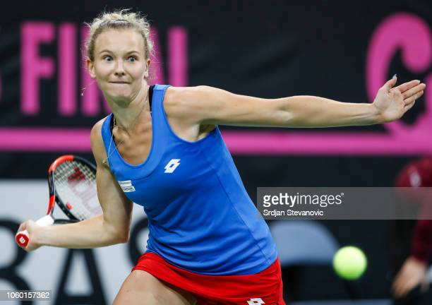 Katerina Siniakova of Czech Republic returns a ball to Sofia Kenin of USA during the Fed Cup Final between Czech Republic v USA at O2 Arena on...