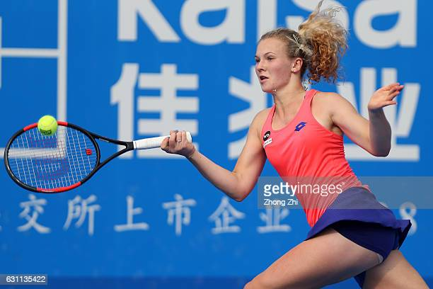 Katerina Siniakova of Czech Republic returns a shot during the singles final match against Alison Riske of United States during Day 7 of 2017 WTA...