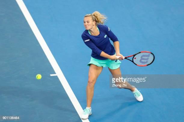 Katerina Siniakova of Czech Republic returns a shot during the match against Kristyna Pliskova of Czech Republic during Day 5 of 2018 WTA Shenzhen...