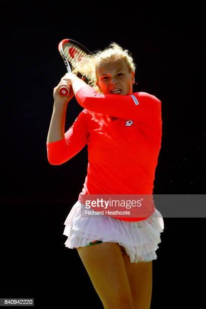 Katerina Siniakova of Czech Republic returns a shot to Elina Svitolina of Ukraine during their first round Women's Singles match on Day Three of the...