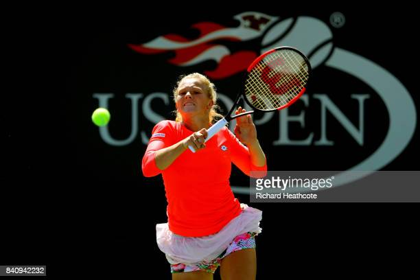 Katerina Siniakova of Czech Republic returns a shot to Elina Svitolina of Ukraine during their first round Women's Singles match on Day Three of the...