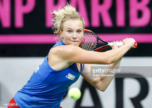 Katerina Siniakova of Czech Republic returns the ball to Sofia Kenin of USA during the Fed Cup Final between Czech Republic and USA at O2 Arena on...