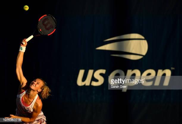 Katerina Siniakova of Czech Republic serves during her women's singles second round match against Ajla Tomljanovic of Australia on Day Four of the...