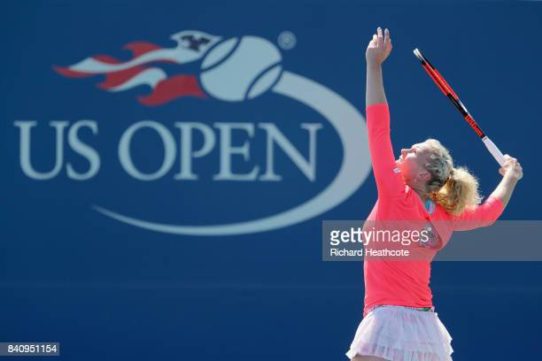 Katerina Siniakova of Czech Republic serves to Elina Svitolina of Ukraine during their first round Women's Singles match on Day Three of the 2017 US...