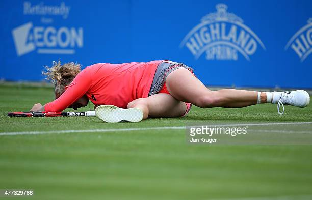 Katerina Siniakova of Czech Republic slips on the grass in her match against Andrea Petkovic of Germany on day two of the Aegon Classic at Edgbaston...