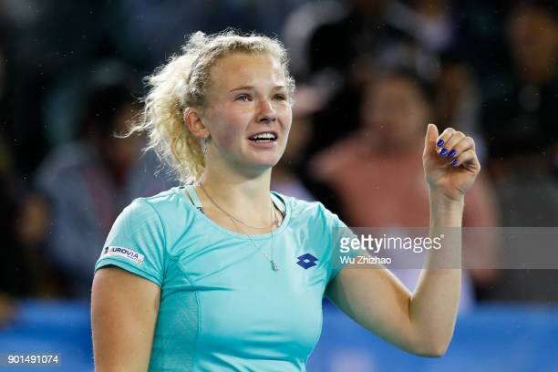 Katerina Siniakova of the Czech Republic celebrates after winning her semifinal match against Maria Sharapova of Russia on Day 6 of 2018 WTA Shenzhen...