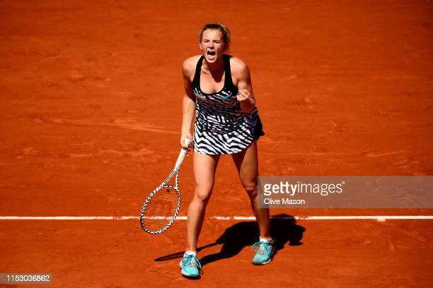 Katerina Siniakova of The Czech Republic celebrates during her ladies singles third round match against Naomi Osaka of Japan during Day seven of the...