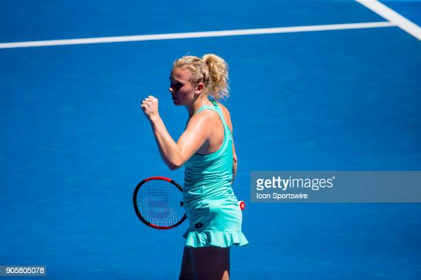 Katerina Siniakova of the Czech Republic celebrates in her Second Round match during the 2018 Australian Open on January 17 at Melbourne Park Tennis...