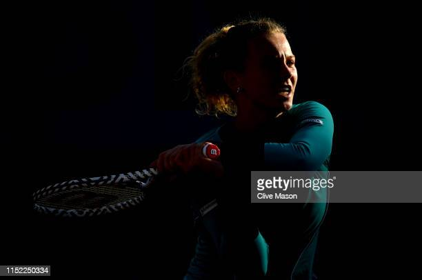 Katerina Siniakova of The Czech Republic during her ladies singles first round match against Elena Rybakina of Kazakhstan during Day three of the...