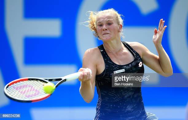 Katerina Siniakova of The Czech Republic hits a forehand during the second round match against Daria Gavrilova of Australia on day three of The Aegon...