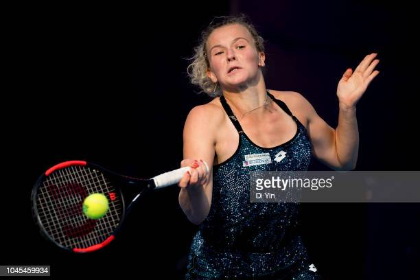 Katerina Siniakova of the Czech Republic hits a return against Kiki Bertens of Netherlands during her women's third round match of 2018 China Open at...