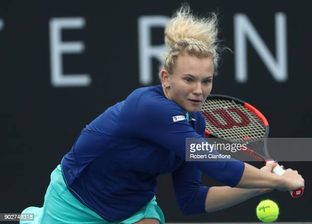 Katerina Siniakova of the Czech Republic plays a backhand during her singles match againsts Alison Riske of the USA during the 2018 Hobart...