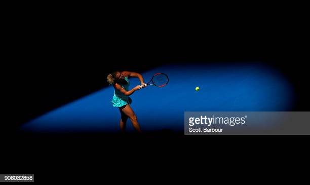 Katerina Siniakova of the Czech Republic plays a backhand in her second round match against Elina Svitolina of Ukraine on day three of the 2018...