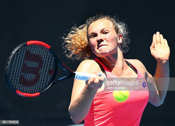 Katerina Siniakova of the Czech Republic plays a forehand during her first round match against Julia Goegres of Germany on day one of the 2017...