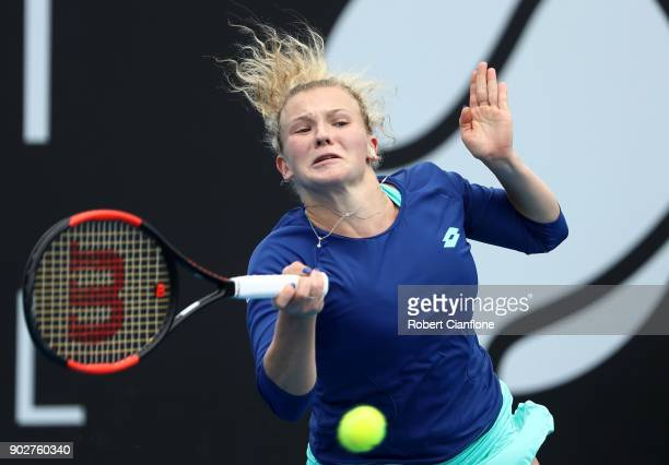 Katerina Siniakova of the Czech Republic plays a forehand during her singles match againsts Alison Riske of the USA during the 2018 Hobart...