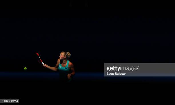 Katerina Siniakova of the Czech Republic plays a forehand in her second round match against Elina Svitolina of Ukraine on day three of the 2018...