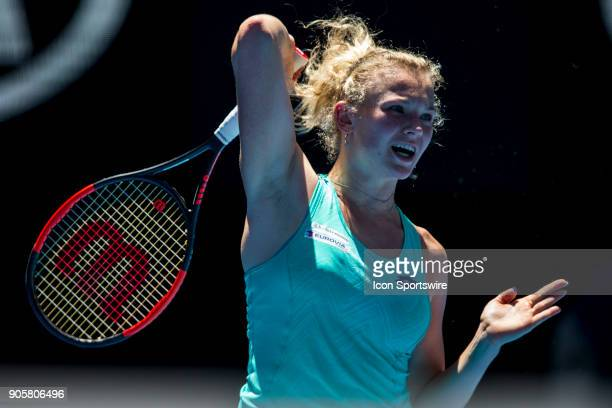 Katerina Siniakova of the Czech Republic plays a shot in her Second Round match during the 2018 Australian Open on January 17 at Melbourne Park...