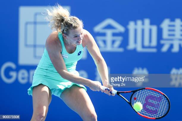 Katerina Siniakova of the Czech Republic returns a shot during the match against Ons Jabeur of Tunisia during Day 1 of 2018 WTA Shenzhen Open at...