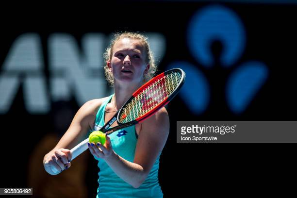 Katerina Siniakova of the Czech Republic serves in her Second Round match during the 2018 Australian Open on January 17 at Melbourne Park Tennis...